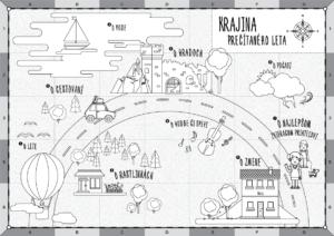 Mapa Prečítaného leta čiernobiela